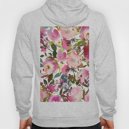 Pink coral forest green watercolor floral Hoody