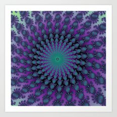 Cool Hued Purple Blue Braided Rug Fractal Art Print