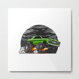 Muscle Car Hand Drawn Metal Print