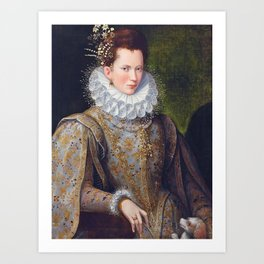Portrait of Court Lady with Dog by Lavinia Fontana Art Print