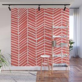 Coral Herringbone Wall Mural