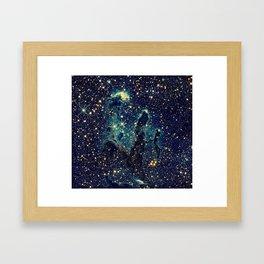 Pillars of Creation GalaxY  Teal Blue & Gold Framed Art Print