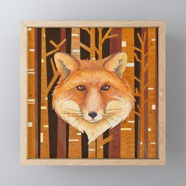 Fox Wild animal in the forest- abstract artwork Framed Mini Art Print