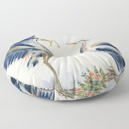 Great Blue Heron Couple Floor Pillow