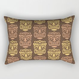 Tiki Pattern Brown Yellow Rectangular Pillow
