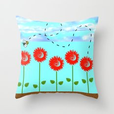 Sunflowers and bee Throw Pillow