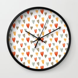 Illustrated Sketch Hearts // Orange // Yellow // Gray Wall Clock