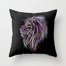 Neon Glow Lion (He)art Throw Pillow