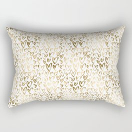 Gold Hearts Pattern on White Rectangular Pillow