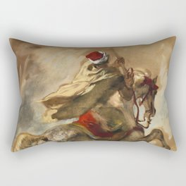 "Eugène Delacroix ""Cavalier Arabe Galopant"" Rectangular Pillow"