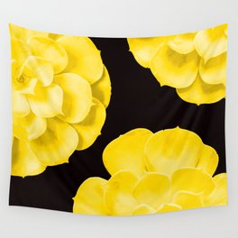 Large Yellow Succulent On Black Background #decor #society6 #buyart Wall Tapestry