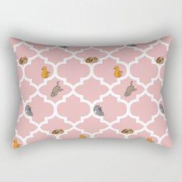 Cats on a Lattice - Pink Rectangular Pillow