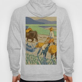 Asano Takeji Rice Transplantation Vintage Japanese Woodblock Print Asian Farmers Sedge Hat Hoody