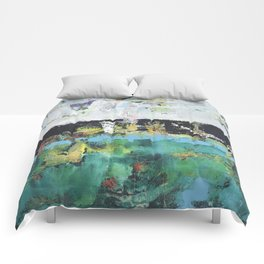 Aloe Abstract Painting Green Comforters