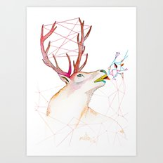 October Deer Art Print