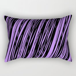 Black lines on a purple background pattern Rectangular Pillow