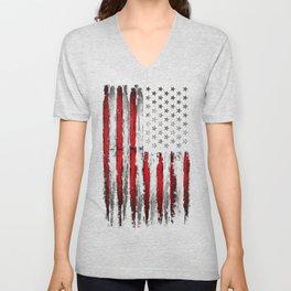 Red & white Grunge American flag Unisex V-Neck