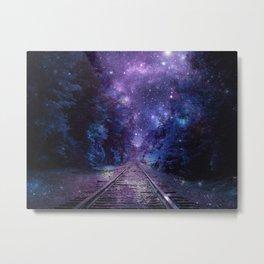 TRAIN tracks Purple Blue Metal Print