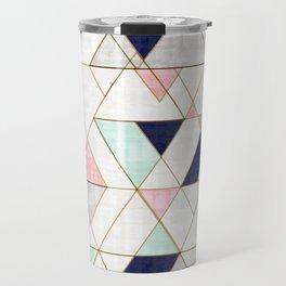 Mod Triangles - Navy Blush Mint Travel Mug
