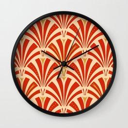 Art Deco Fan Pattern, Mandarin Orange Wall Clock