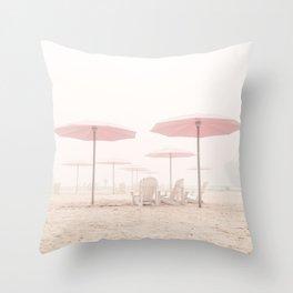 Foggy Beach Throw Pillow