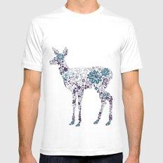 Flower Deer White Mens Fitted Tee MEDIUM