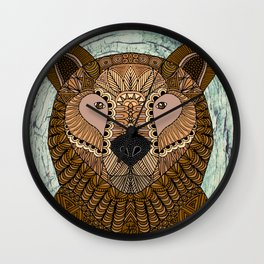Ornate Brown Bear Wall Clock
