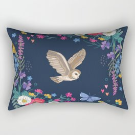 Owl and Wildflowers Rectangular Pillow