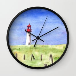 Whimsical Lighthouse Mixed Media Wall Clock