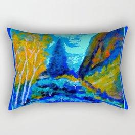 Western Golden Aspens Blue Mountain Landscape Art Rectangular Pillow