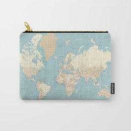 "Cream, brown and muted teal world map, ""Jett"" Carry-All Pouch"