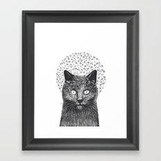 Dandelion black cat Framed Art Print
