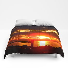 Glowing Sunset on the Sea Comforters