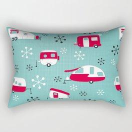 Red Campers on Aqua Rectangular Pillow
