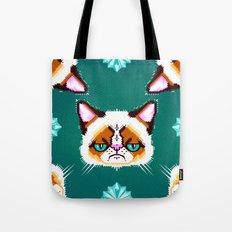 Grumpy Cat Geometric Pattern Tote Bag