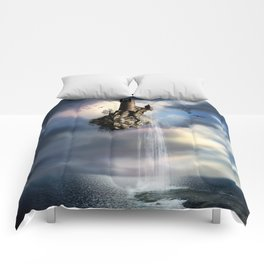 Surreal Castle Waterfall Comforters