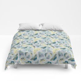 Fluttering in Grey and Yellow Comforters