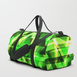 Spring gentle green horizontal strict stripes of sparkling grass triangles. Duffle Bag