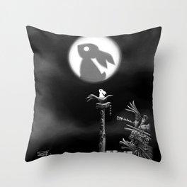 Rabbit on the moon Throw Pillow