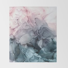 Blush and Paynes Gray Flowing Abstract Reflect Throw Blanket