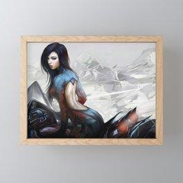 Hot girl on motorcycle Framed Mini Art Print
