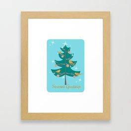 Mid Century Christmas Tree Framed Art Print