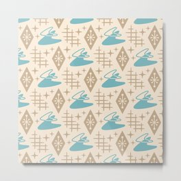 Mid Century Modern Space age Boomerang Pattern 454 Turquoise and Beige Metal Print