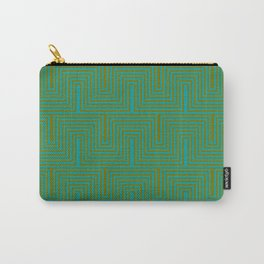Doors & corners op art pattern in olive green and aqua blue Carry-All Pouch