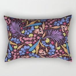Neon Tropical Jungle Leaves, Starfish and Snails Rectangular Pillow