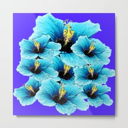 AQUA BLUE HIBISCUS FLOWERS GARDEN FLORAL Metal Print