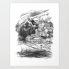 River Sawmill Art Print
