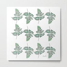 Fern Plant Watercolor Metal Print