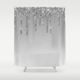 Gray & Silver Glitter Drips Shower Curtain
