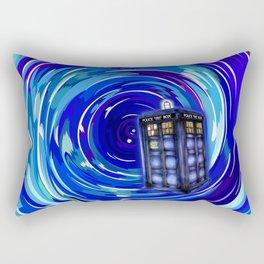 Blue Phone Box with Swirls Rectangular Pillow